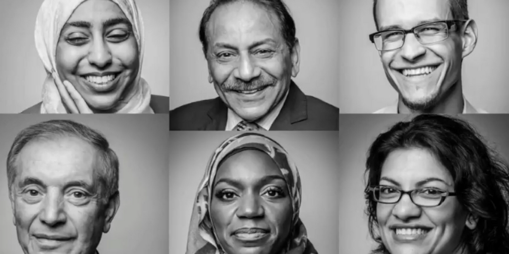 A collage of six smiling faces, three Muslim men and three Muslim woman