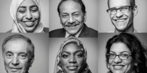 A collage of six smiling faces, three Muslim men and three Muslim women