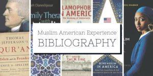 A collage of books about American Muslims