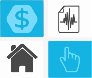 A grid of four squares containing a dollar symbol, a house, a hand with a finger pointing up, and a piece of paper with a line graph on it