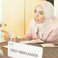 Engy Abdelkader speaking on a panel