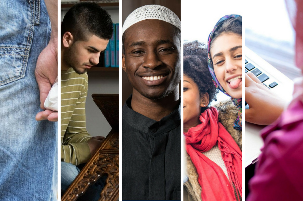 A collage of Muslim youths 1) holding a bag of drugs, 2) studying the Qur'an, 3) smiling at the camera, 4) hanging out with friends, and 5) on the computer.
