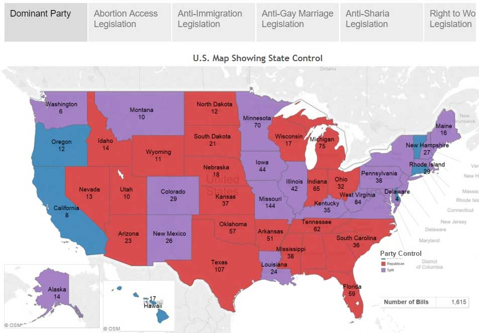 A US map showing state control by republicans, democrats, or split