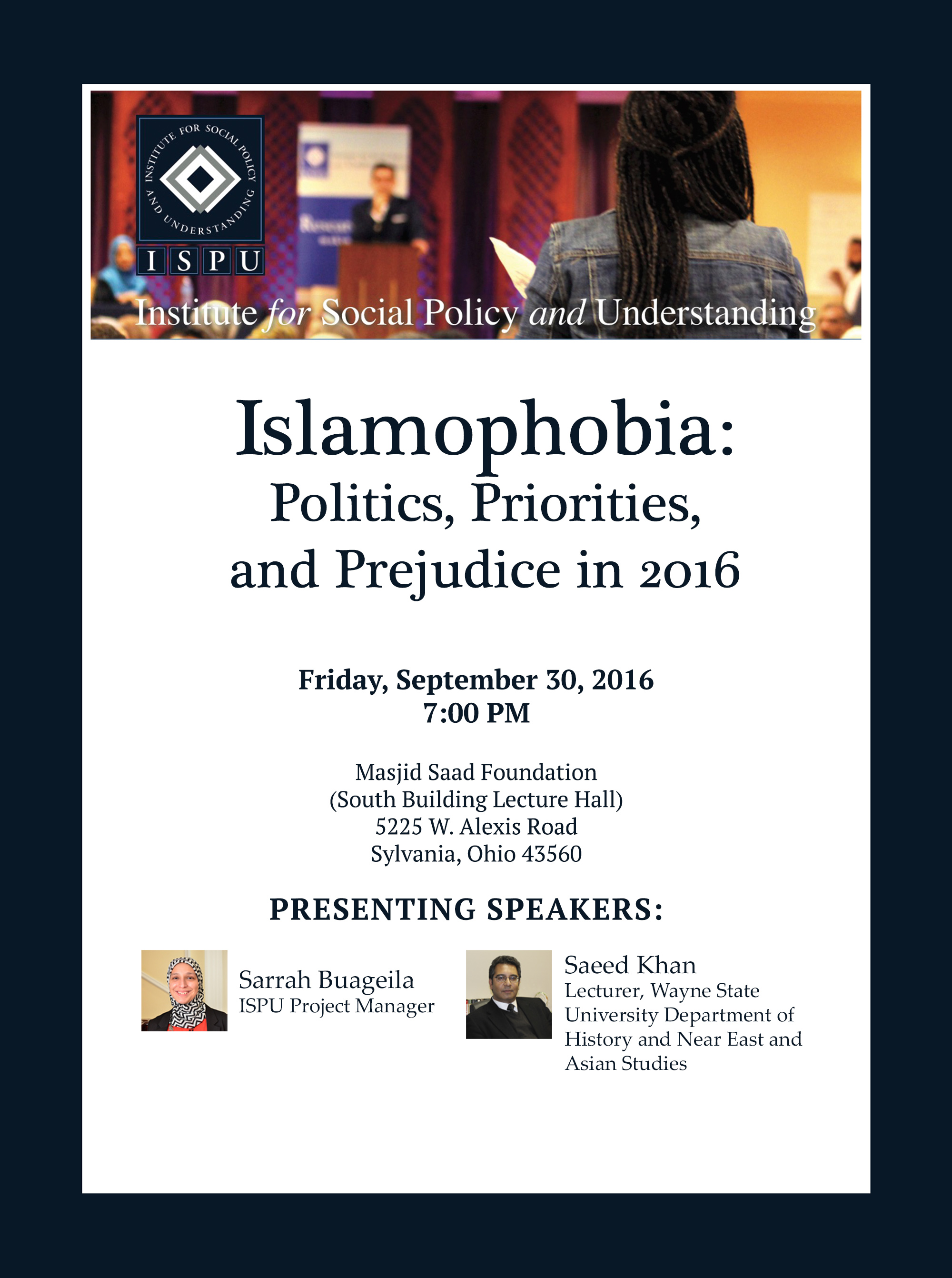 Islamophobia: Politics, Priorities, and Prejudice in 2016 -- Toledo