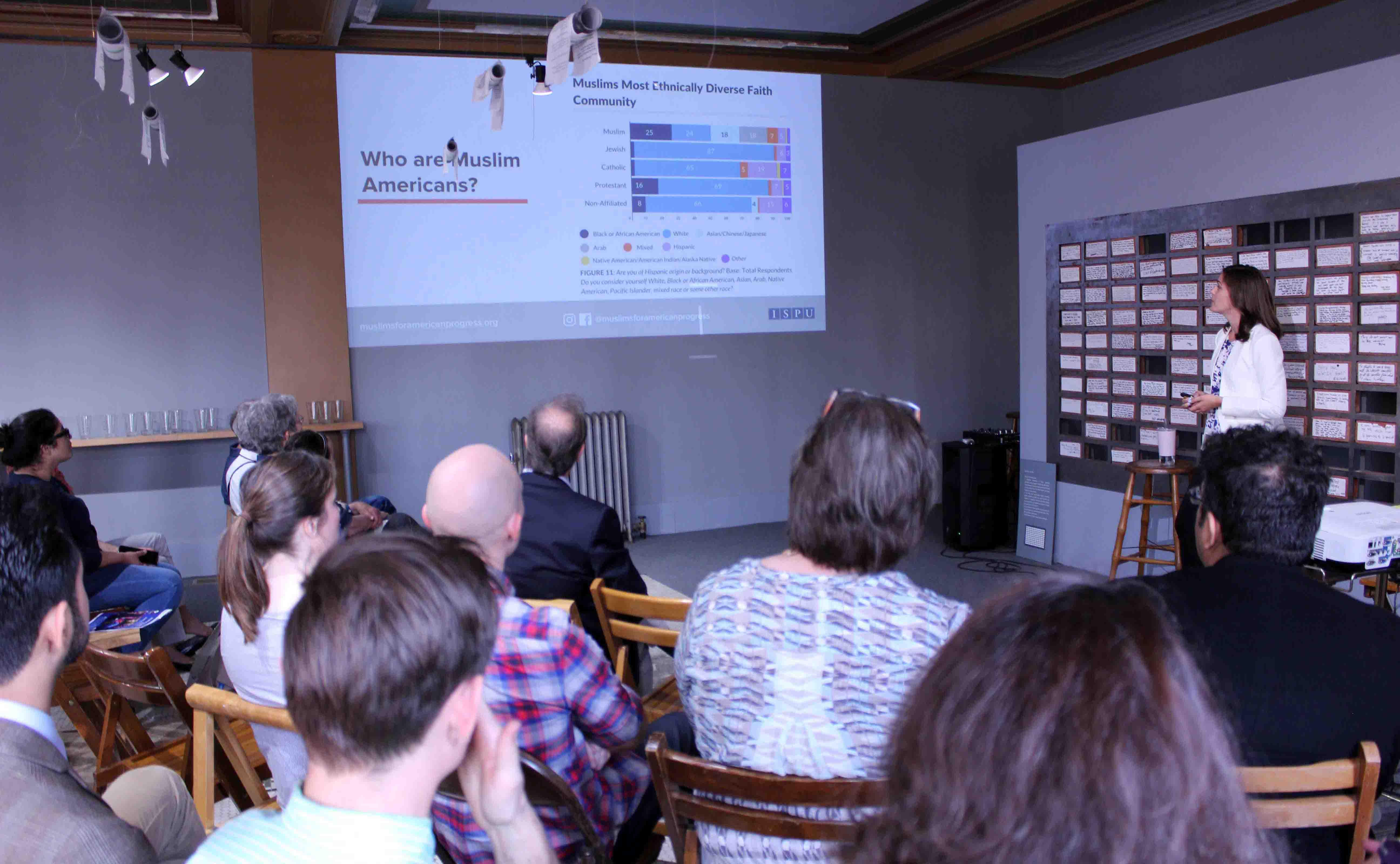 PI and report author Rebecca Karam presented Muslims for American Progress (MAP) findings at Bank Suey in Hamtramck, Michigan.