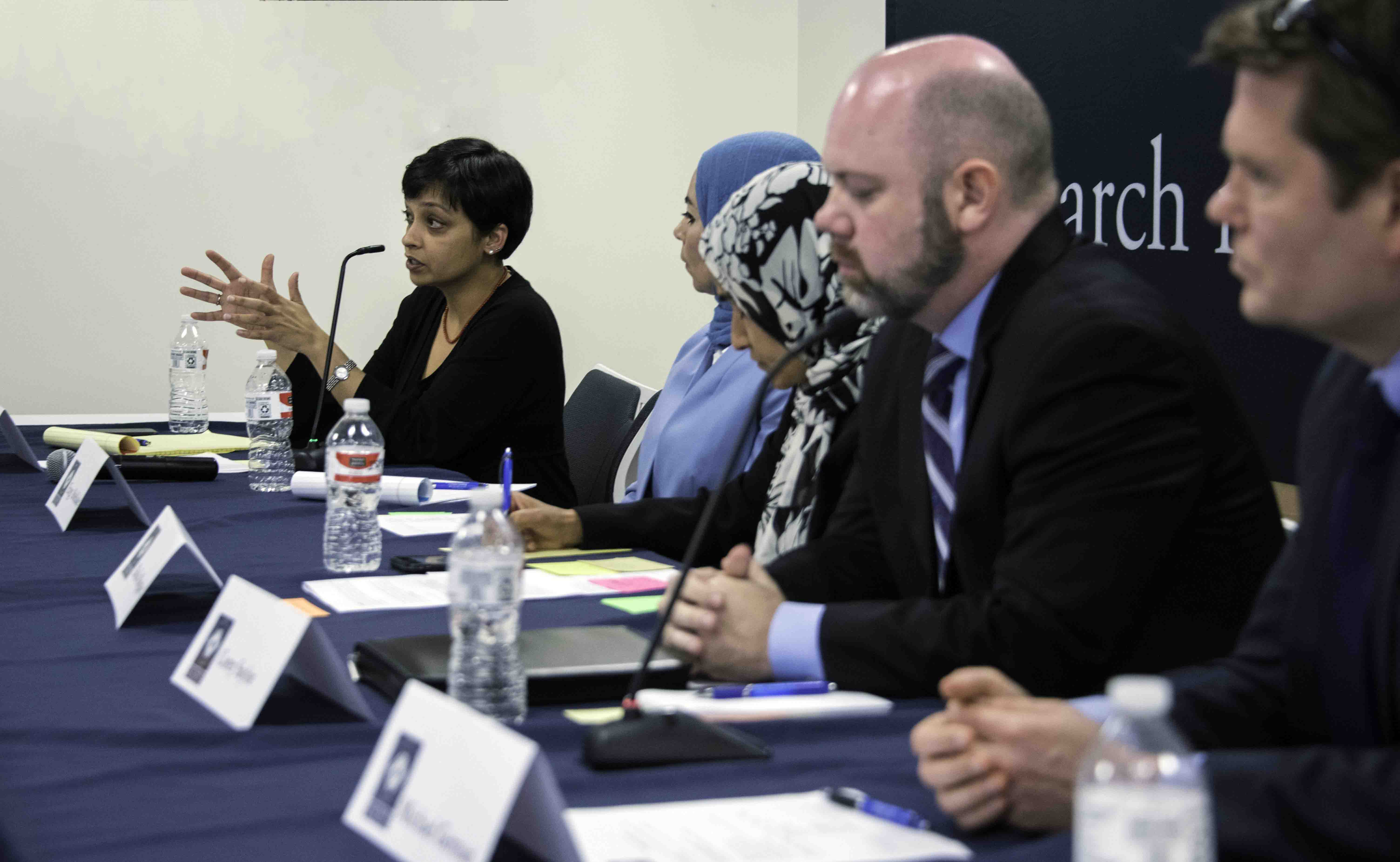 A panel including Michael German (Brennan Center), Hina Shamsi (ACLU), ISPU Scholar Engy Abdelkader (Bridge Initiative) and Corey Saylor (CAIR)