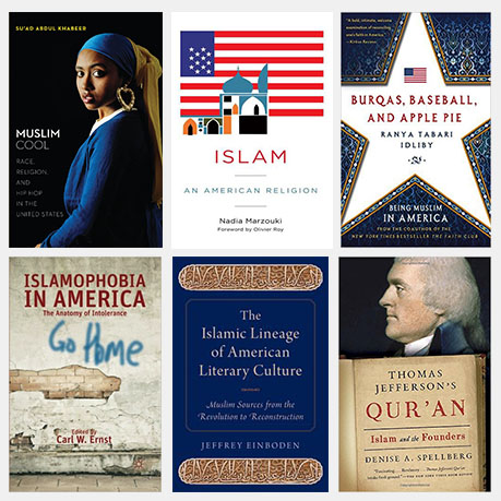 """A collage of six books about Muslims or Islam in America, including the cover of """" Muslim cool: Race, religion, and hip hop in the United States"""", which features a Black Muslim woman wearing a blue and yellow hair wrap and large gold hoop earring, staring at the reader"""