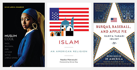 "A collage of three books about Muslims or Islam in America, including the cover of "" Muslim cool: Race, religion, and hip hop in the United States"", which features a Black Muslim woman wearing a blue and yellow hair wrap and large gold hoop earring, staring at the reader"