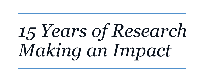 15 Years of Research Making an Impact