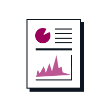 A report with a pie graph and a line graph