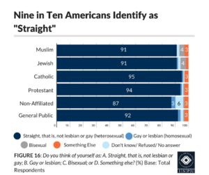 """Figure 16: Bar graph showing that 9 in 10 american identify as """"straight"""""""