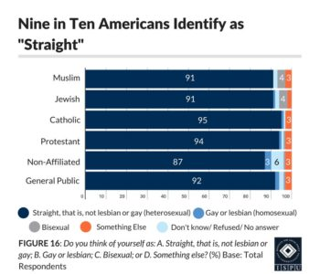 "Figure 16: Bar graph showing that 9 in 10 american identify as ""straight"""
