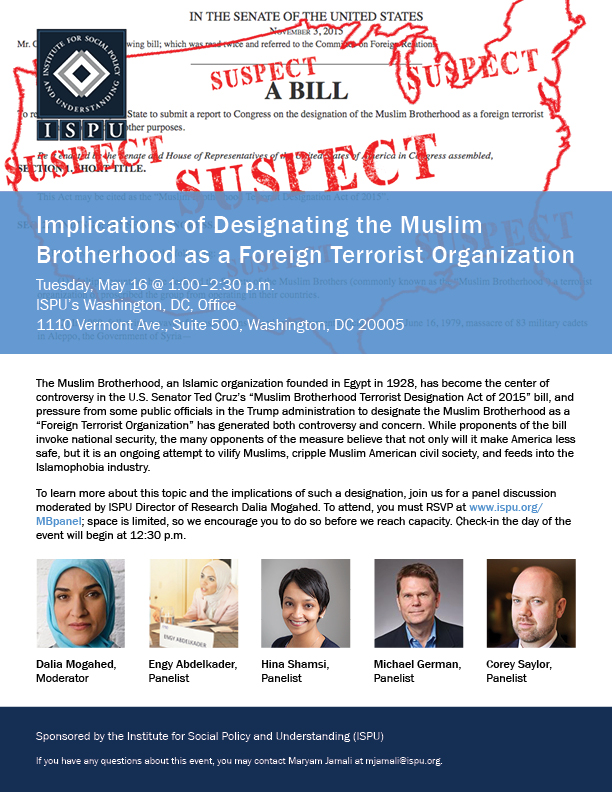 Implications of Designating the Muslim Brotherhood as a Foreign Terrorist Organization event flyer