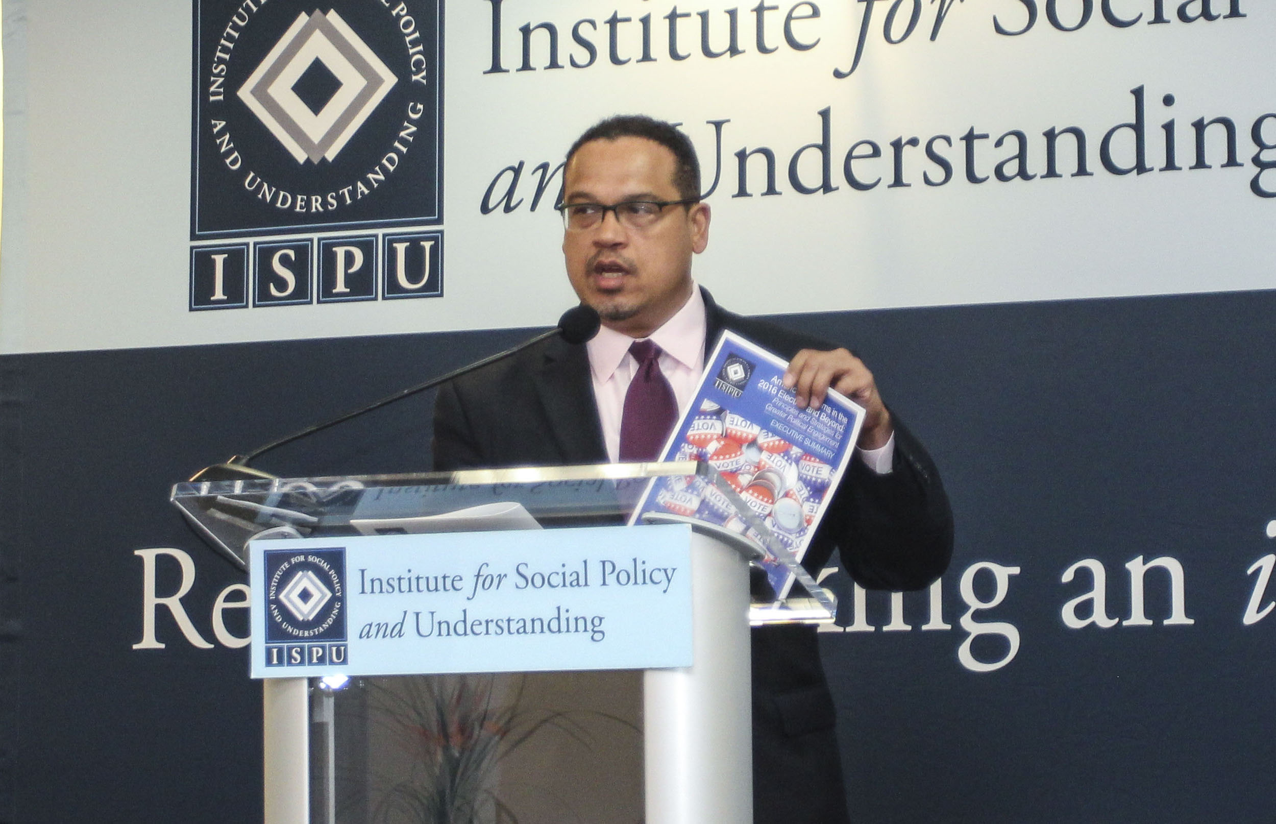 Rep. Keith Ellison discussing the need for ISPU's research