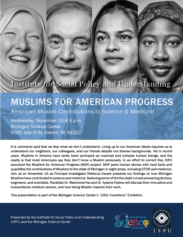 Muslims for American Progress flyer for event at the Michigan Science Center