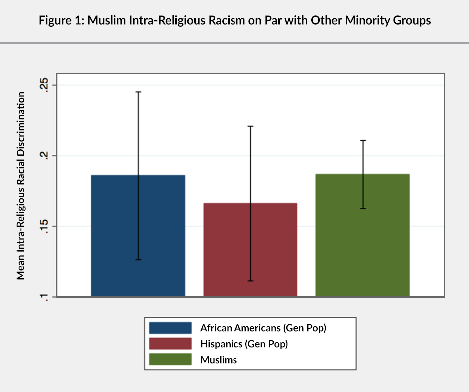Figure 1: A bar graph showing that Muslim intra-religious racism is on par with other minority groups
