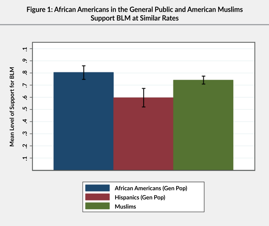 Figure 1: A bar graph showing that African Americans in the general public and American Muslims support Black Lives Matter (BLM) at similar rates