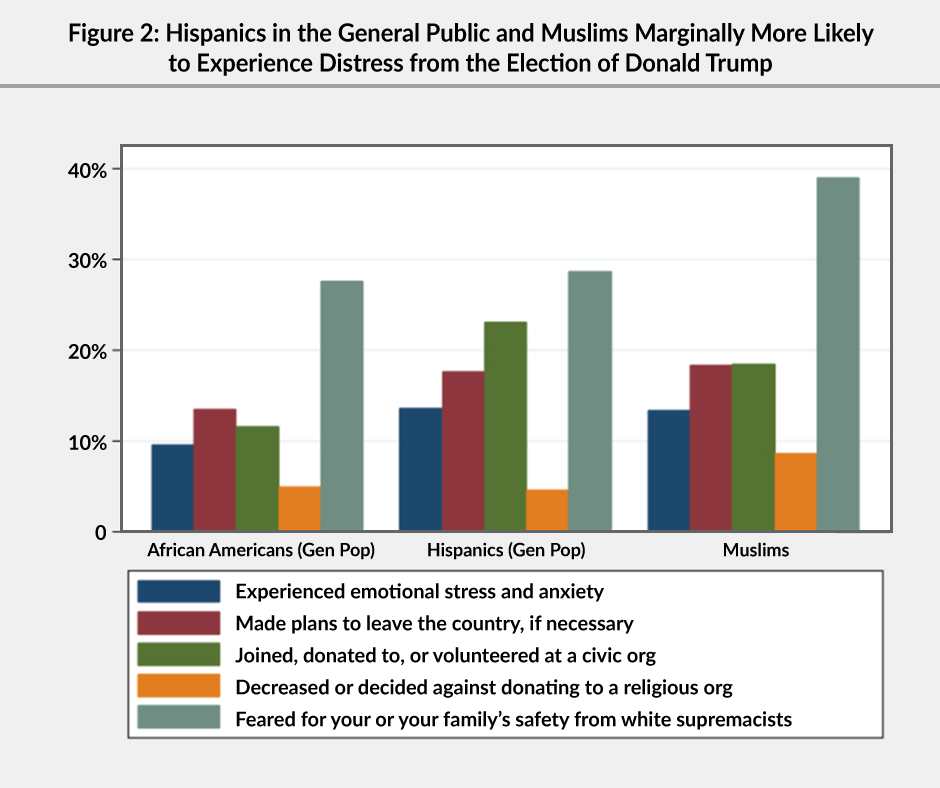Figure 2: A bar graph showing that Hispanics in the general public and Muslims were marginally more likely to experience distress from the election of Donald Trump, in comparison to African Americans in the general public.