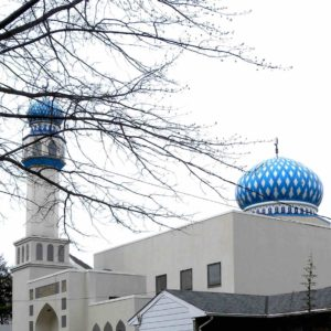 A neighborhood mosque with a blue dome