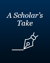 """A Scholar's Take"" in white text above a white pen outline"