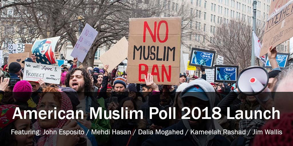 """A photo of a protest featuring a cardboard """"No Muslim Ban"""" sign"""