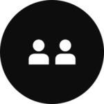 Two people in a black, circular icon