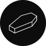 A coffin in a black, circular icon