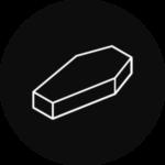 A coffin in a black, circular icon