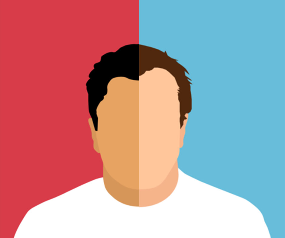 A graphic of a man split in half: on the left, he has brown skin and a red background; on the right, he has white skin and a blue background