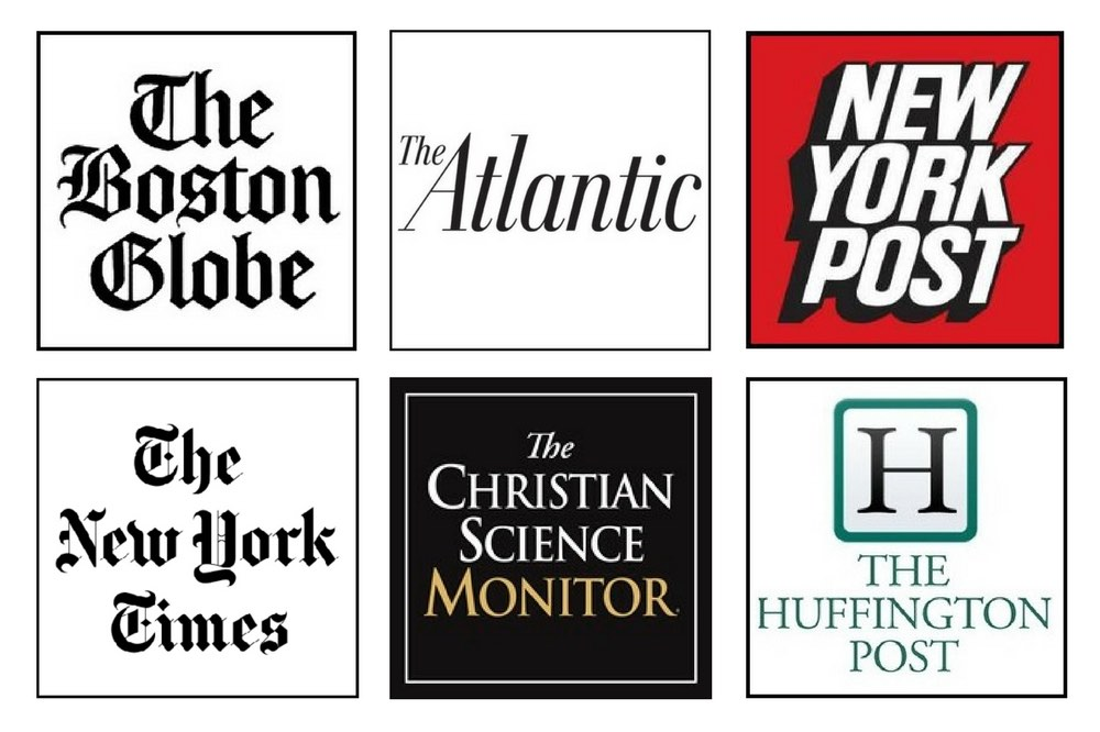 A collection of news agency logos: The Boston Globe, The Atlantic, New York Post, The New York Times, The Christian Science Monitor, The Huffington Post