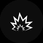 A blast radius in a black, circular icon