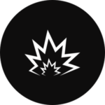 A blast radius in a black, circular icon