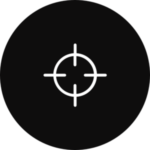 A gun target in a black, circular icon