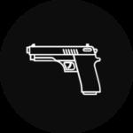 A handgun in a black, circular icon
