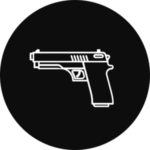 A handgun in a black, circular icon