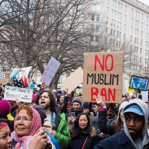 A group of protesters at the 2017 No Muslim Ban Protests in DC