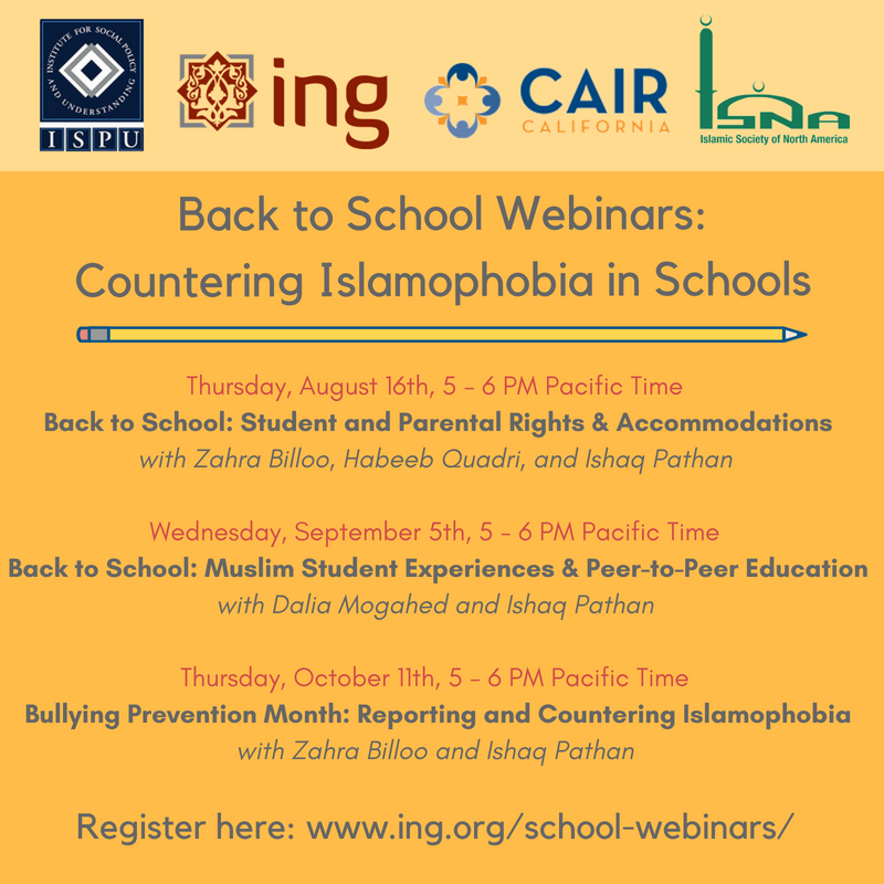 Back to School Webinars: Countering Islamophobia in Schools