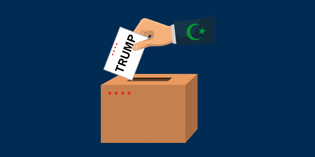 A hand with a green crescent and star on the sleeve is putting a card with the word Trump in a ballot box