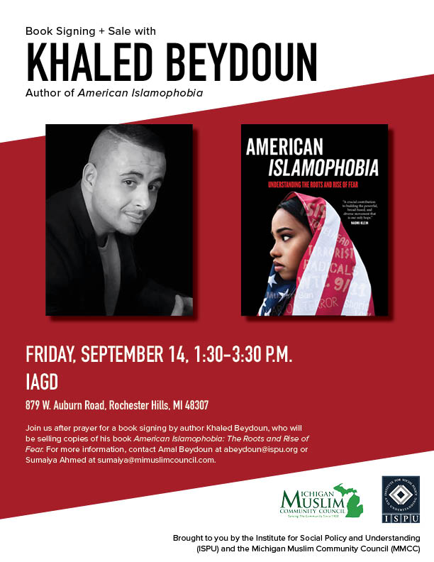 A poster for a book signing and sale with Khaled Beydoun