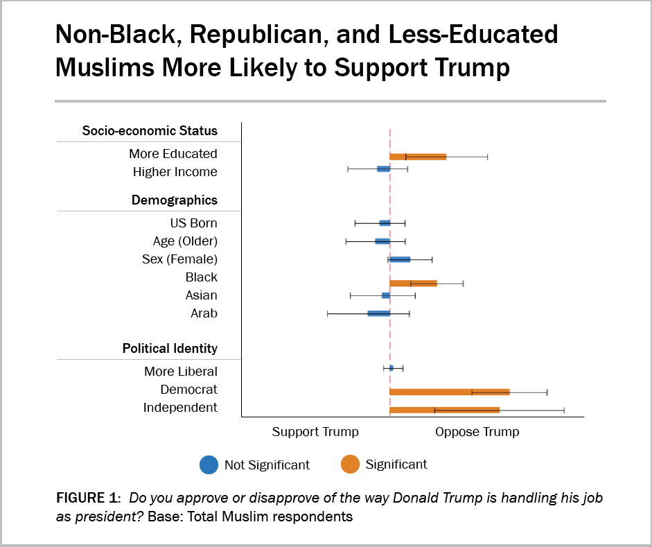 Graph showing that non-Black, Republican, and less-educated Muslims were more likely to support President Trump