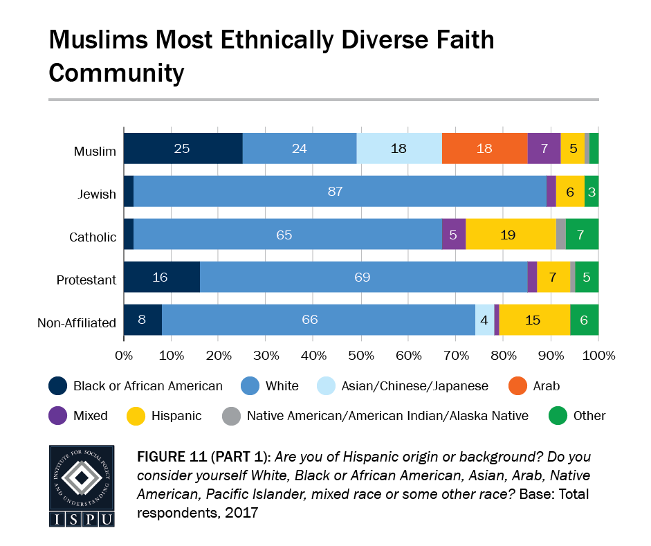 Figure 11, Part 1: Bar graph showing that Muslims are the most ethnically diverse faith community