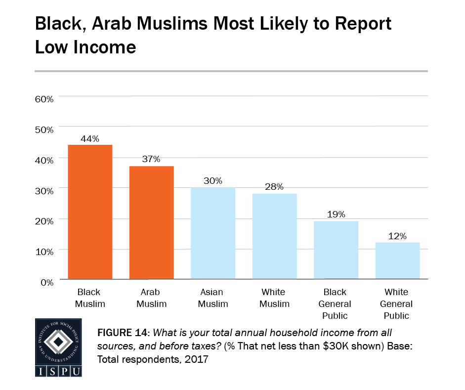 Figure 14: Bar graph showing that Black and Arab Muslims are most likely to report low income