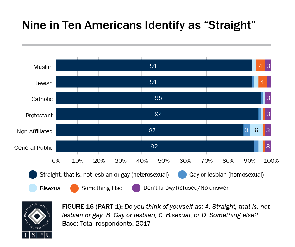"""Figure 16, Part 1: Bar graph showing that 9 in 10 Americans identify as """"straight"""""""