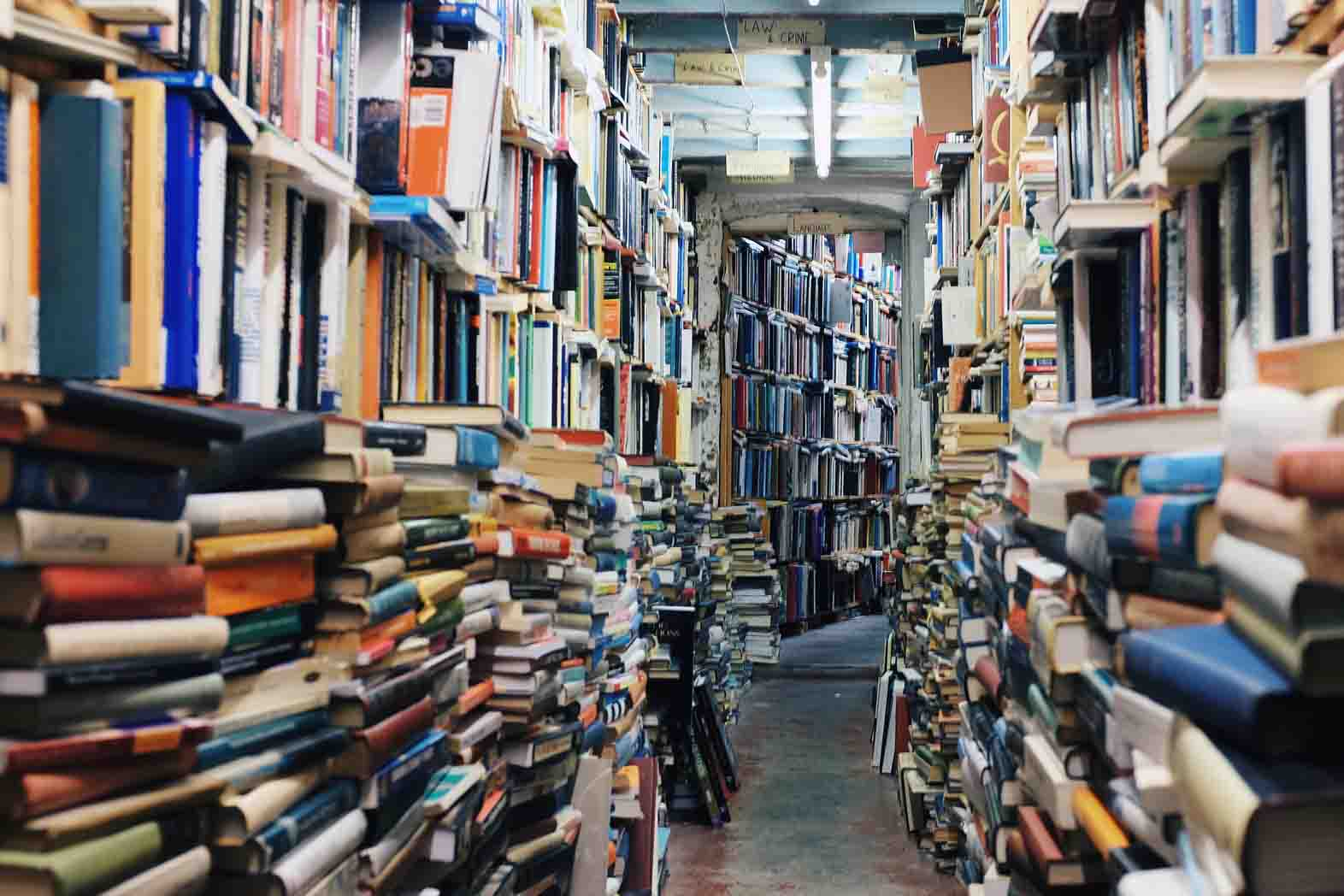 Books packed into library shelves