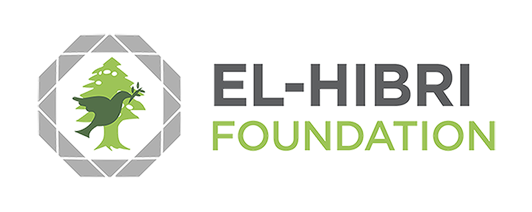El-Hibri Foundation logo (a green bird with an olive branch in its beak superimposed on a light green pine tree)