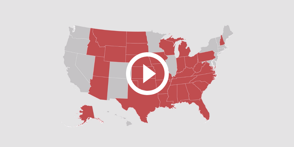 A US map with red states filled in
