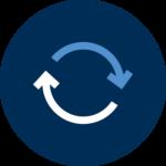two arrows showing a feedback loop