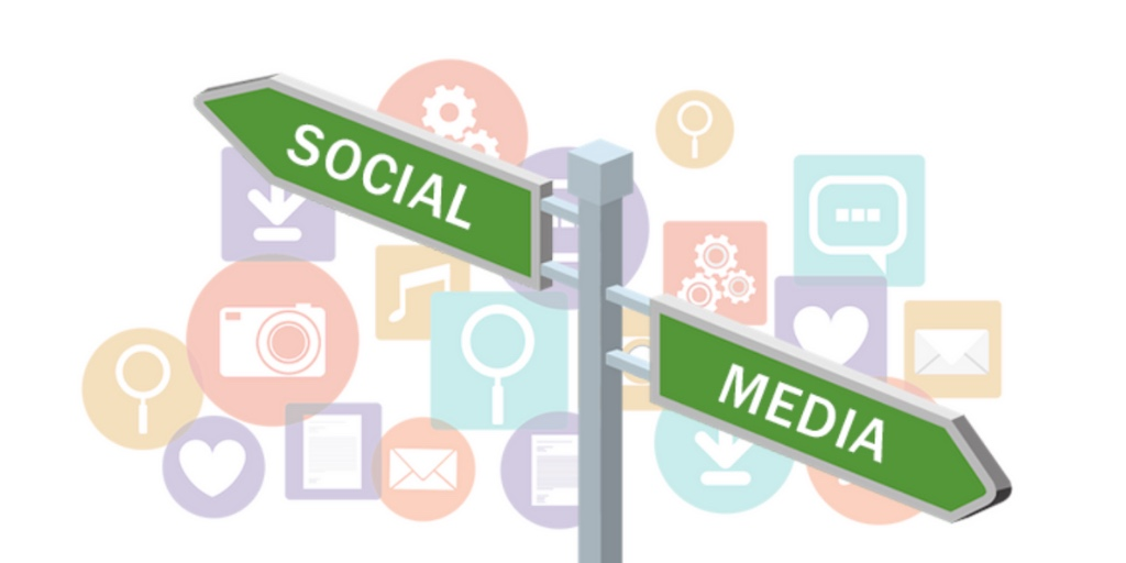 """Street corner signs with with the words """"social media"""""""