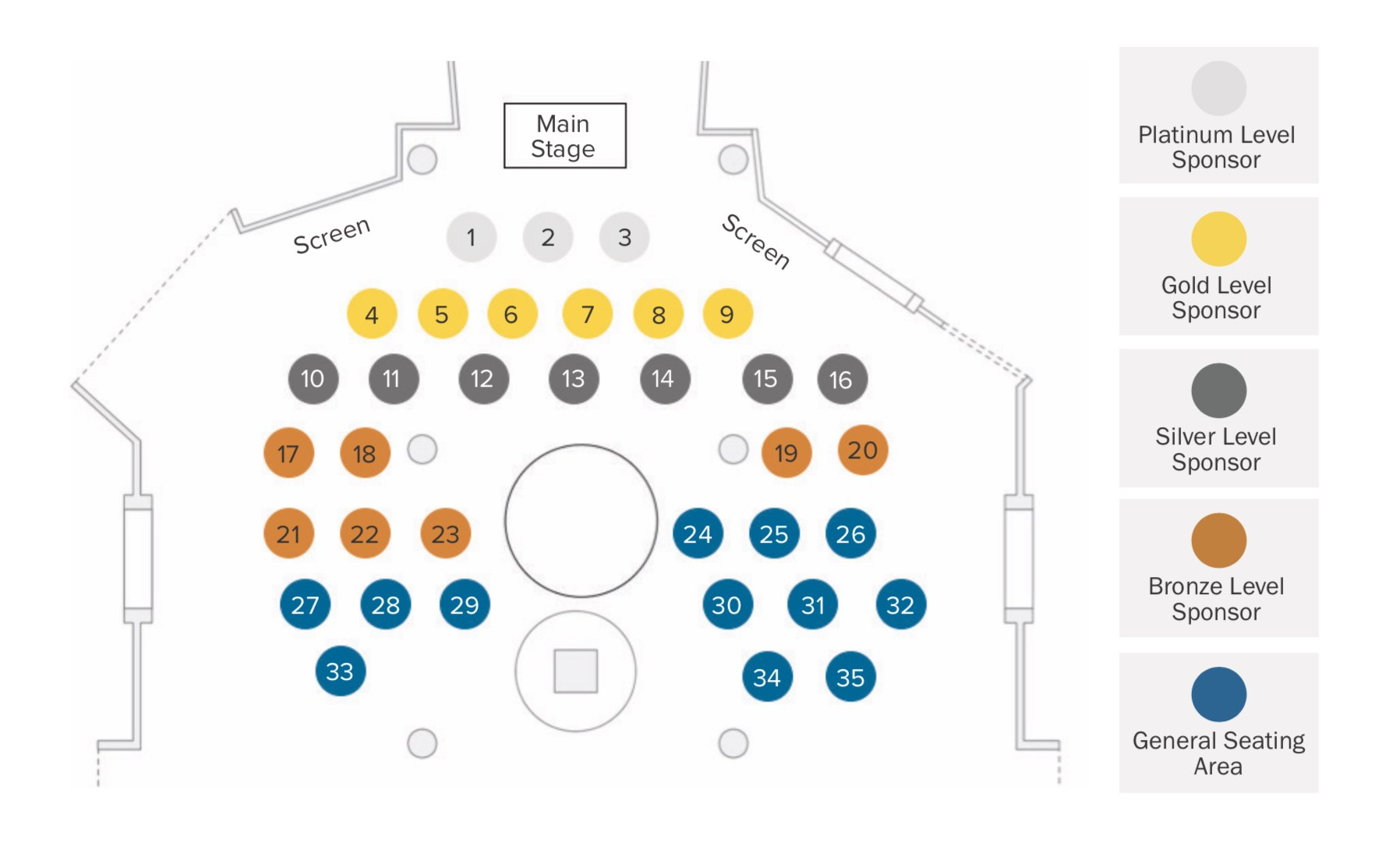 A map of the venue showing three available platinum tables, six available gold tables seven available silver tables, seven available bronze tables, and twelve available general seating tables