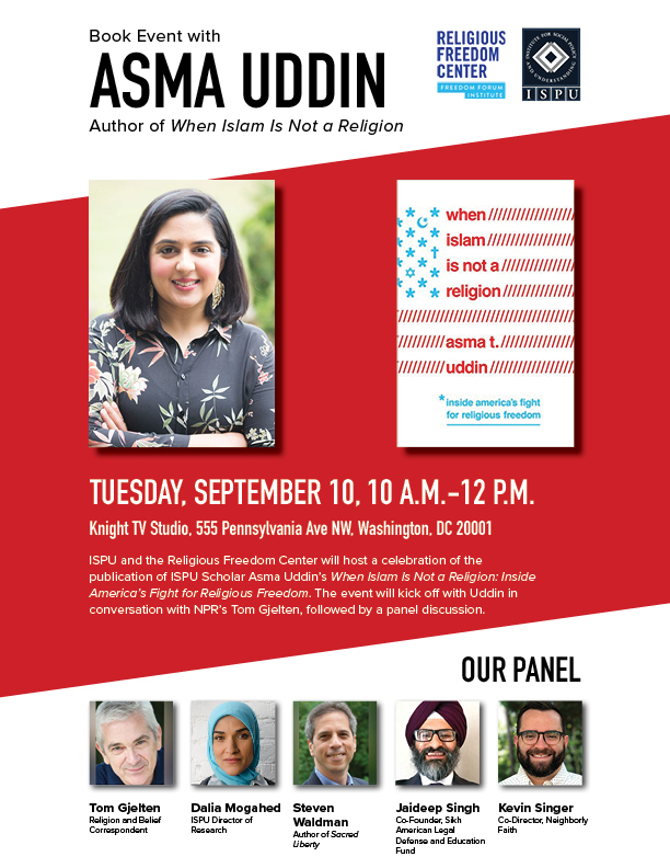 Book event with Asma Uddin, author of When Islam is not a Religion flyer